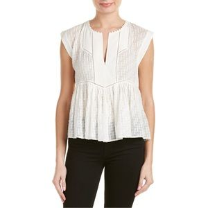 Rebecca Taylor Diagonal Embroidered Silk Blend Top